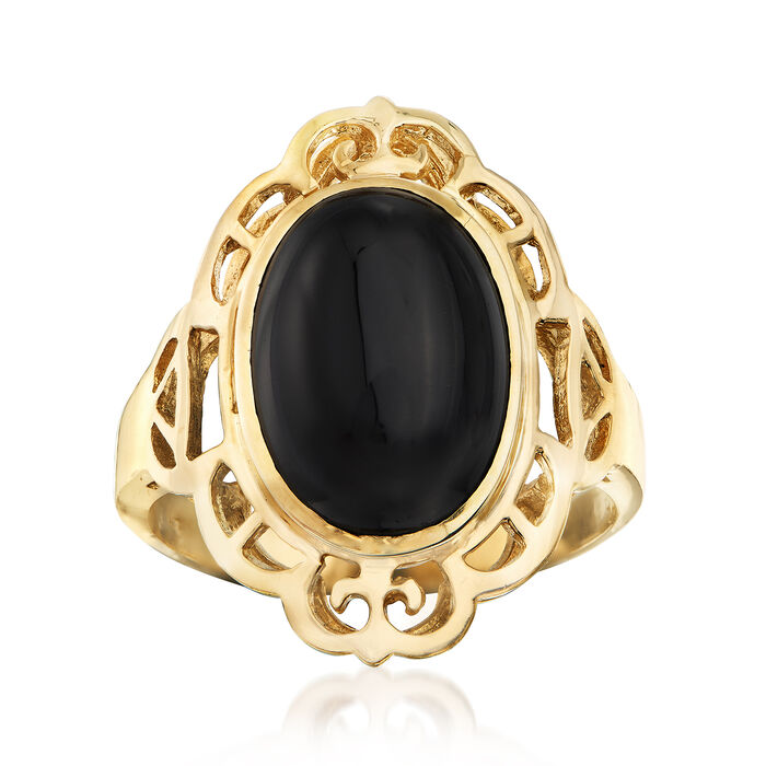 C. 1980 Vintage Black Onyx Oval Ring in 14kt Yellow Gold. Size 7.5, , default