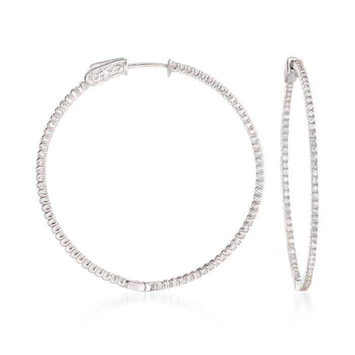 """1.50 ct. t.w. CZ Hoop Earrings in Sterling Silver. 1 3/4"""""""