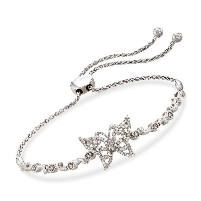 .30 ct. t.w. Diamond Butterfly Bolo Bracelet in Sterling Silver , , default