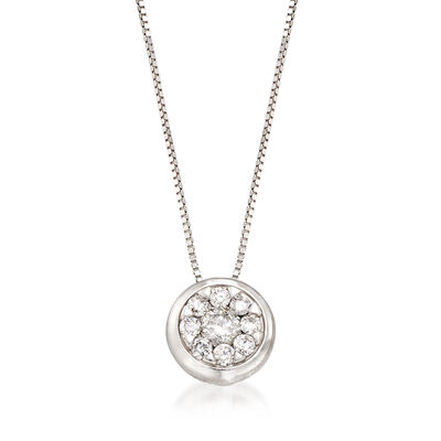 .30 ct. t.w. Diamond Cluster Pendant Necklace in 14kt White Gold, , default