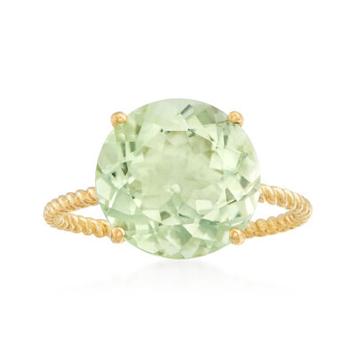 4.50 Carat Prasiolite Twist Rope Ring in 14kt Yellow Gold