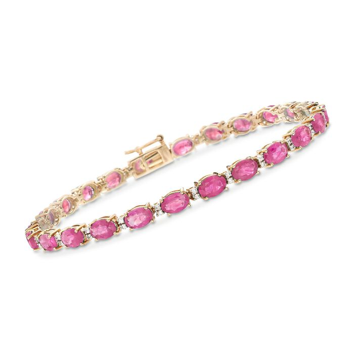 "12.00 ct. t.w. Ruby and .29 ct. t.w. Diamond Bracelet in 14kt Yellow Gold. 7"", , default"