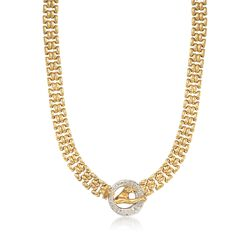 "C. 1980 Vintage 1.50 ct. t.w. Diamond Panther Necklace in 18kt Yellow Gold. 16.5"", , default"