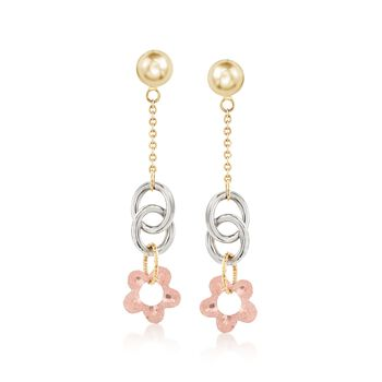 Italian 14kt Tri-Colored Gold Floral Drop Earrings, , default