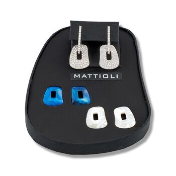 """Mattioli """"Puzzle"""" 18kt White Gold Earrings With Three Interchangeable Drops: 1.78 ct. t.w. Diamond and Multicolored Mother-Of-Pearl. 7/8"""", , default"""