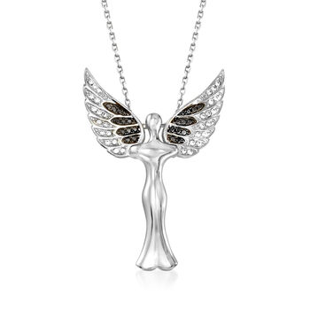 ".25 ct. t.w. Black and White CZ Angel Pendant Necklace in Sterling Silver . 18"", , default"