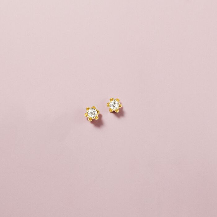 Child's Diamond Accent Stud Earrings in 14kt Yellow Gold