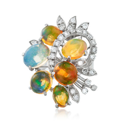 C. 1970 Vintage Multicolored Opal and .65 ct. t.w. Diamond Cocktail Ring in 18kt White Gold, , default