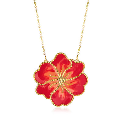 Italian Orange Enamel Flower Necklace in 14kt Yellow Gold, , default