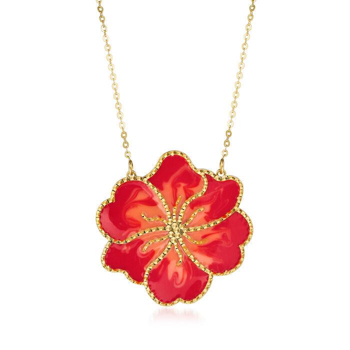 Italian Orange Enamel Flower Necklace in 14kt Yellow Gold, , default