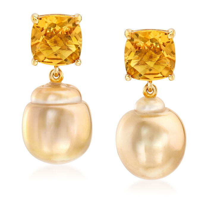 Cultured South Sea Pearl and 6.00 ct. t.w. Citrine Drop Earrings in 14kt Yellow Gold, , default