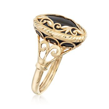 Black Onyx Scroll Ring in 14kt Yellow Gold, , default