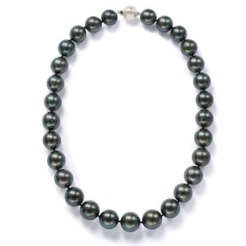 13-15mm Black Cultured Tahitian Pearl Necklace With Diamonds and 14kt White Gold, , default