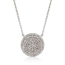 .50 ct. t.w. Pave Diamond Circle Necklace in Sterling Silver, , default