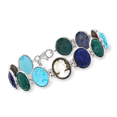 Italian Multi-Gemstone Cameo Bracelet in Sterling Silver