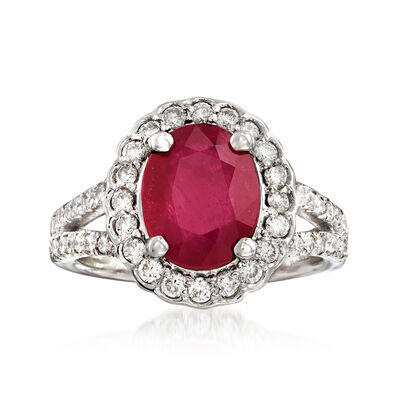 2.40 Carat Ruby and .85 ct. t.w. Diamond Ring in 14kt White Gold, , default