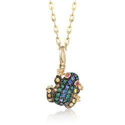 .33 ct. t.w. Multi-Stone Frog Pendant in 14kt Yellow Gold With Black Rhodium , , default