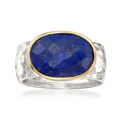 Lapis Ring in Sterling Silver and 14kt Yellow Gold, , default