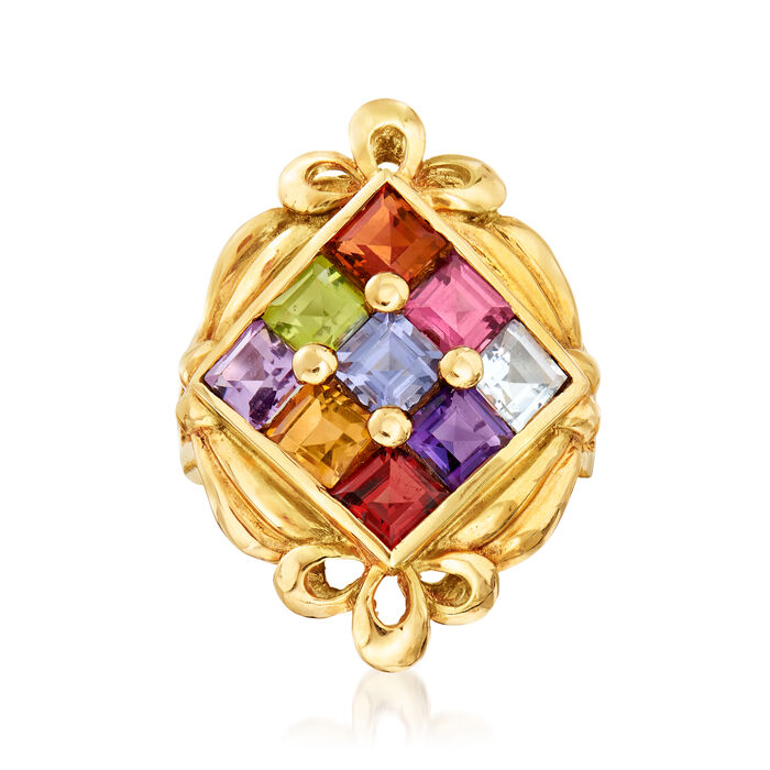 C. 1980 Vintage 2.97 ct. t.w. Multi-Gemstone Ring in 18kt Yellow Gold. Size 5.25, , default