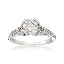 C. 2000 Vintage 1.10 ct. t.w. Certified Diamond Engagement Ring in Platinum. Size 6, , default