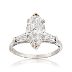 C. 1970 Vintage 3.20 ct. t.w. Marquise and Baguette Diamond Ring in Platinum, , default