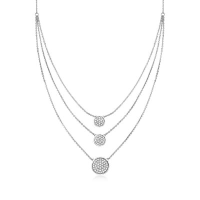 1.00 ct. t.w. Pave Diamond Circle Layered Necklace in 14kt White Gold, , default
