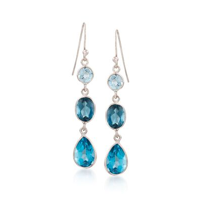 8.90 ct. t.w. Tonal Blue Topaz Linear Earrings in Sterling Silver