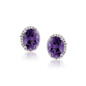 3.50 ct. t.w. Amethyst Stud Earrings With .10 ct. t.w. Diamonds in 14kt White Gold, , default