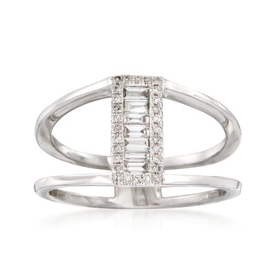 .24 ct. t.w. Baguette and Round Diamond Open-Space Ring in 14kt White Gold, , default