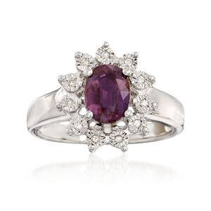 1.60 Carat Synthetic Alexandrite Ring with Diamond Accents in Sterling Silver #904075