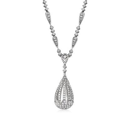 C. 1980 Vintage 2.50 ct. t.w. Diamond Teardrop Necklace in 14kt White Gold, , default