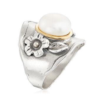 9-10mm Cultured Pearl Floral Ring in Sterling Silver with 14kt Yellow Gold, , default