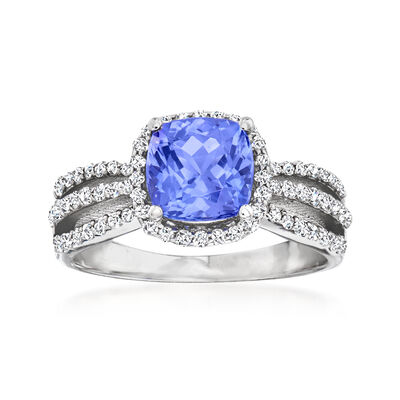 2.00 Carat Tanzanite and .37 ct. t.w. Diamond Ring in 14kt White Gold