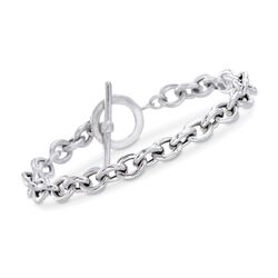 Italian Sterling Silver Cable Chain Link Bracelet, , default