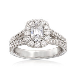 Henri Daussi 1.24 ct. t.w. Diamond Halo Engagement Ring in 18kt White Gold  , , default