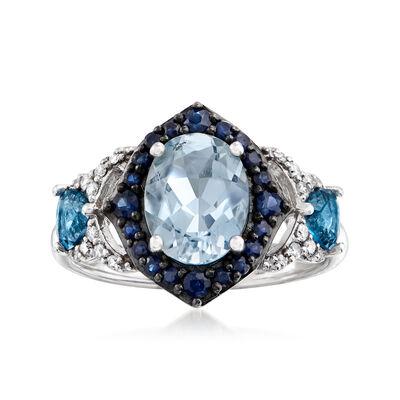 2.30 ct. t.w. Multi-Gem and .12 ct. t.w. Diamond Ring in 14kt White Gold, , default