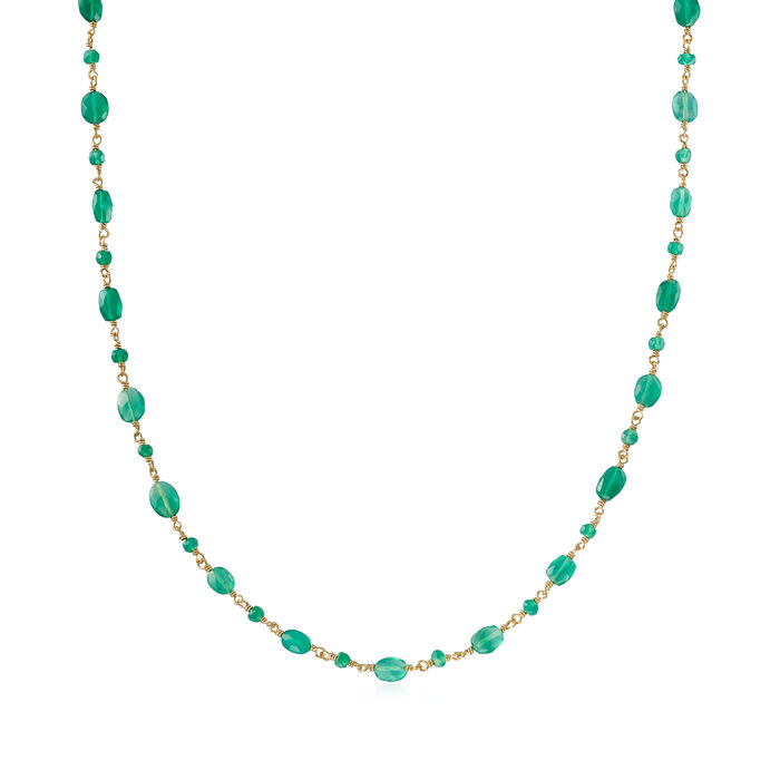 Green Chalcedony Station Bead Necklace in 18kt Gold Over Sterling, , default