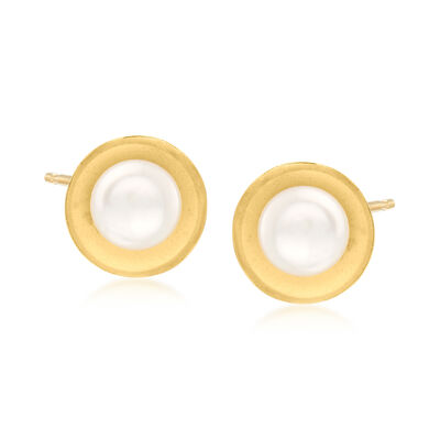 6-6.5mm Bezel-Set Cultured Pearl Earrings in 14kt Yellow Gold