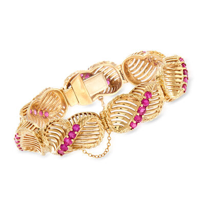 C. 1970 Vintage 5.60 ct. t.w. Ruby Link Bracelet in 14kt Yellow Gold