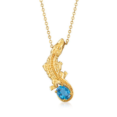 2.00 Carat London Blue Topaz Alligator Necklace with Diamond Accent in 18kt Gold Over Sterling
