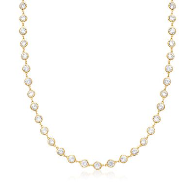 20.00 ct. t.w. Bezel-Set CZ Station Necklace in 18kt Gold Over Sterling, , default