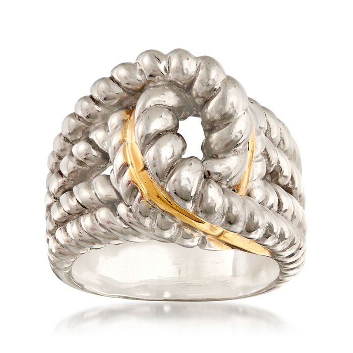 Sterling Silver and 14kt Yellow Gold Interlocking Rope Ring. Size 5