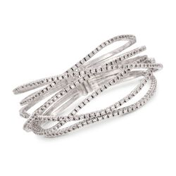 "7.65 ct. t.w. Diamond Criss-Cross Bracelet in 18kt White Gold. 7"", , default"