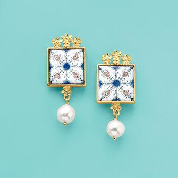 Italian 9mm Cultured Pearl Majolica Tile Drop Earrings in 18kt Gold Over Sterling, , default