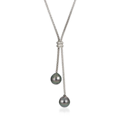 9-10mm Black Cultured Tahitian Pearl Lariat Necklace in Sterling Silver, , default