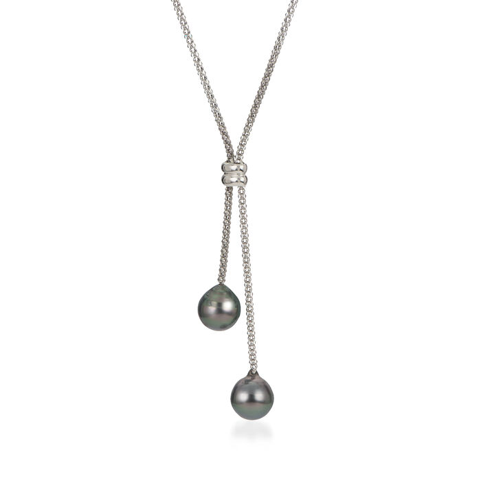 """9-10mm Black Cultured Tahitian Pearl Lariat Necklace in Sterling Silver. 16.5"""""""