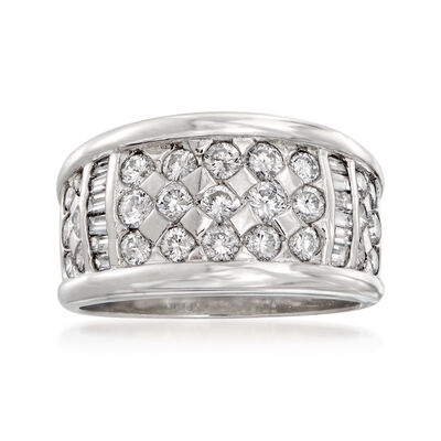 C. 1980 Vintage 1.33 ct. t.w. Diamond Checkerboard Ring in Platinum