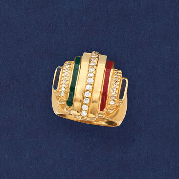 Italian .35 ct. t.w. CZ and Multicolored Enamel Ring in 18kt Yellow Gold Over Sterling Silver, , default