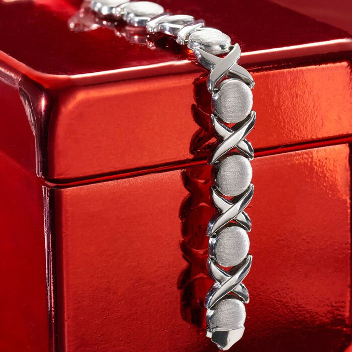 Italian Sterling Silver Brushed and Polished XO Link Bracelet