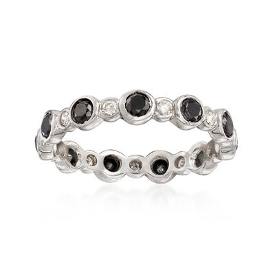 1.00 ct. t.w. Bezel-Set Black and White Diamond Eternity Band in 14kt White Gold, , default